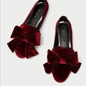 NWOT Zara Burgundy Red Velvet Loafers with Bow